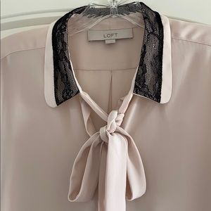 Loft Light Blush Blouse w/lace detail on collar